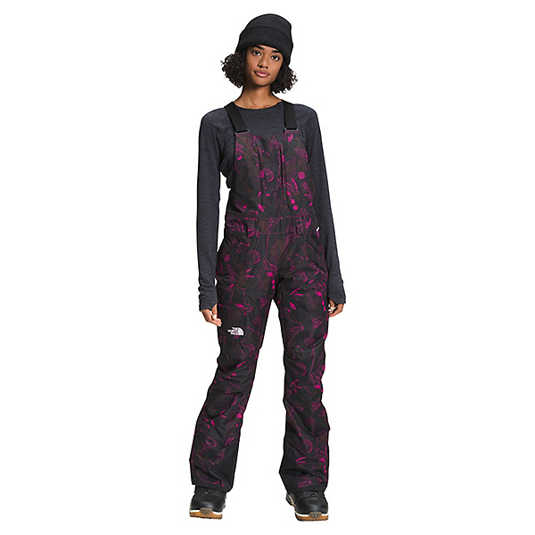 The North Face Freedom Bib Womens Ski Pants 2022, Roxbury Pink Halftone Floral Print, 600