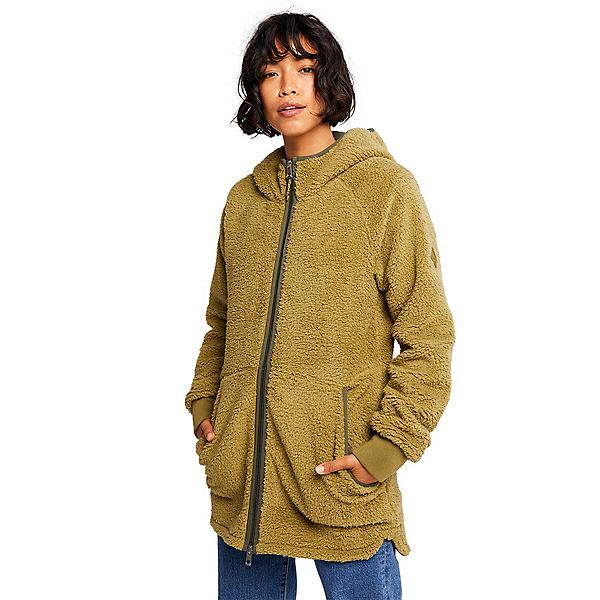 Burton Minxy Full Zip Fleece Womens Hoodie 2022, Martini Olive Sherpa, 600